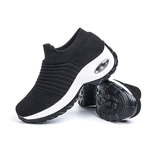 Zapatillas Deportivas de Mujer Zapatos Running Fitness Gym Outdoor Sneaker Casual Mesh Transpirable Comodas Calzado Negro-Blanca Talla 39