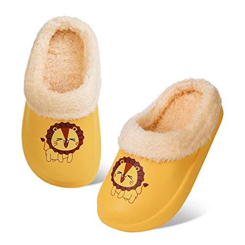 Zapatillas de Invierno para Niños Zuecos Cálidas Chico Niña Pantuflas Jardín Ultraligeros y Antideslizantes para Interiores y Exteriores (Leon Amarillo,24/25)