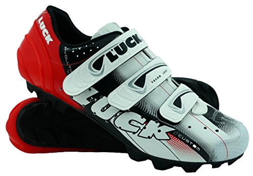 LUCK Zapatillas de Ciclismo Extreme 3.0 MTB,con Suela de Carbono y Triple Tira de Velcro de sujeción ademas de Puntera de Refuerzo. (41 EU, Rojo)