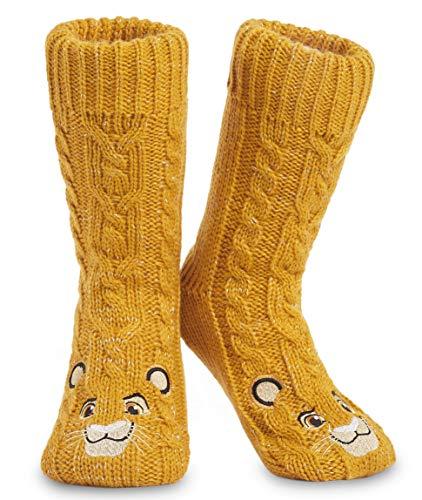 Disney Calcetines Antideslizantes Invierno Mujer Con Personajes Disney, Zapatillas de Punto Interior Forro Polar Para Estar Por Casa, Regalos Mujer (Amarillo)