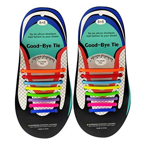ITME Cordones sin atar para adultos, cordones de silicona sin atar, cordones de silicona elástica sin atar para zapatos casuales y deportivos