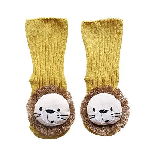 CyFe Calcetines de piso de bebé de dibujos animados de león calcetines divertidos antideslizantes calcetines largos niños niños niñas otoño e invierno interior zapatillas calcetines