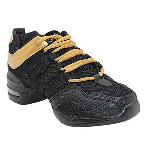 Yudesun Mujer Zapatos Aire Libre Deportes Danza - Mujeres Lona Cordones Suela de Goma Zapatillas Practicidad Running Sneaker Jazz Contemporáneo Baile Informal Oro Negro (Los Zapatos Son más pequeños)