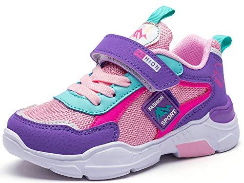 Deportivas Zapatos de Running Niñas 34 Zapatillas de Niños Zapatillas de Correr Niño Ligeras Zapatos de Walking Niña Transpirable Sneakers Baloncesto Zapatillas y Calzado Deportivo 6586-Rosa