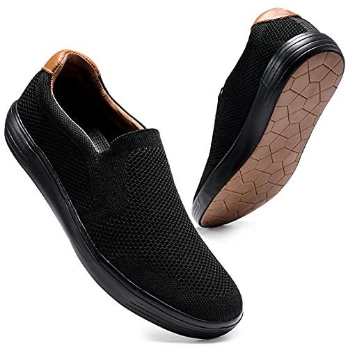 konhill Zapatillas Clásico Slip-On Sneaker Casual Hombre Sin Cordones Caminar Calzado Antideslizantes Cómodas Transpirable EU 44,5 Todo Negro