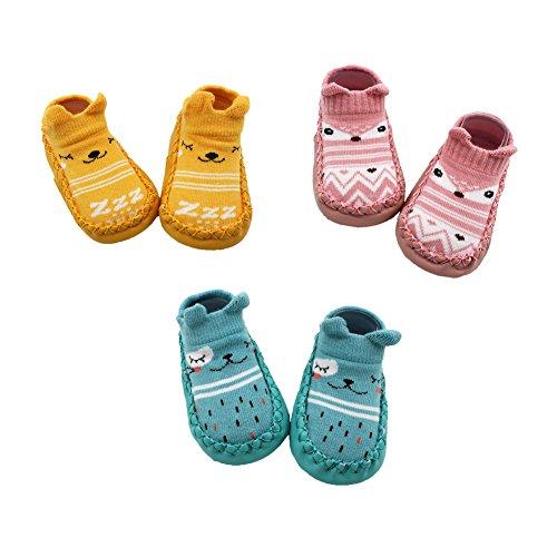 Z-Chen Pack de 3 Pares Zapatillas para Bebé con Suela Antideslizante, Amarillo + Rosa + Azul, 6-12 Meses