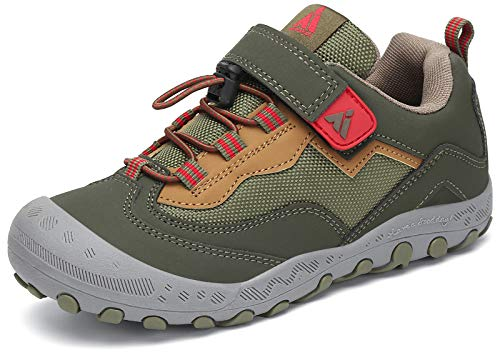 Mishansha Zapatos de Bambas Niños Zapatillas de Senderismo Niñas Zapatillas de Deporte Trekking Montaña Transpirable Antideslizante Ligero Sneakerso Verde/Amarillo 24 EU