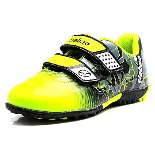 Jamron Tiebao Niños Guay Multicolor Bucle&Gancho Zapatos de Fútbol Fustal Zapatillas de Futbol Suelo Duro Césped Interior Verde 376660 Niño Grande EU35