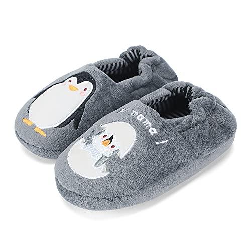 MASOCIO Zapatillas Casa Niño Invierno Zapatillas de Estar por Casa Andar Pantuflas Niños Talla 26 27 Pingüino Gris
