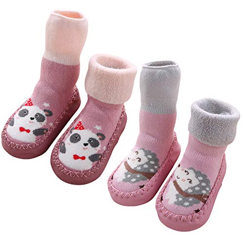 Adorel Calcetines Zapatos Antideslizantes Forros Bebé 2 Pare Erizo y Panda 23 EU (Tamaño del Fabricante 15)