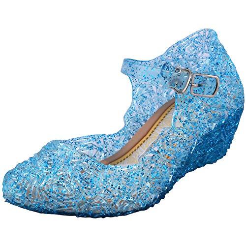 Tyidalin Niña Bailarina Zapatos de Tacón Disfraz de Princesa Zapatilla de Ballet para 3 a 12 Anni Azul, 24 EU (Etiqueta 26)
