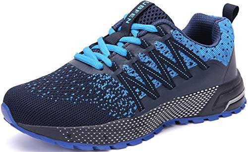 SOLLOMENSI Zapatillas de Deporte Hombres Mujer Running Zapatos para Correr Gimnasio Sneakers Deportivas Padel Transpirables Casual Montaña 43 EU H Azul