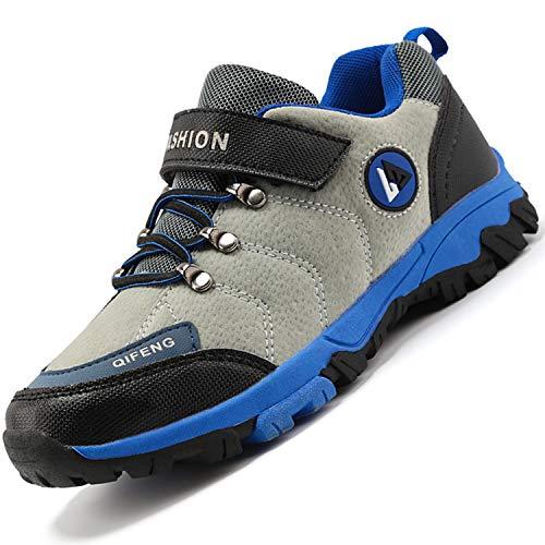 Unitysow Zapatillas de Senderismo para Niño Zapatillas y Calzado Deporte Niños Impermeables Botas de Senderismo Aire Libre Montaña Zapatillas Trekking,Gris,EU36
