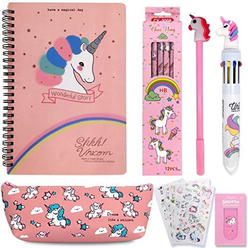 21 Piezas Set de papelería Unicornio,Unicornio Libreta de Notas,Unicornio Papeleria Regalo Niña 10 9 8 7 Años,Unicornio Cuaderno Bonitos e Notas para Niña