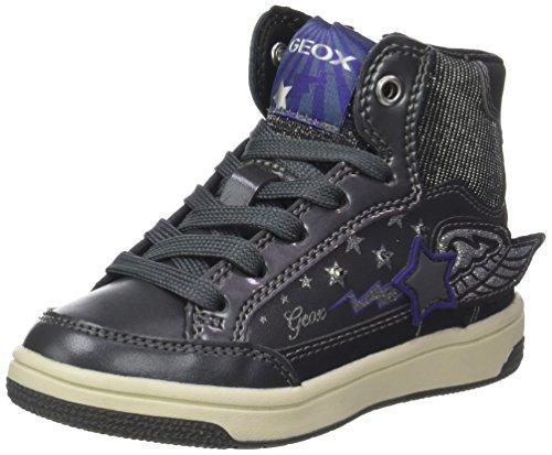 Geox JR Creamy A, Zapatillas Altas Niños, Plateado (Dk Silver/Violet), 24 EU